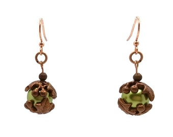 Olive Green Glass Pearls & Copper Nickel Free Drop Earrings, Leaf Berry, B'sue by 1928, Fairy Unique Jewelry, Gingerbread, Chartreuse Short