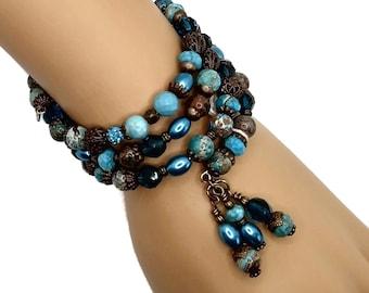 Aqua Blue Jasper & Brass Memory Wire Bracelet, Wrap Bracelet, Stacked Bracelet, Layered Bracelet, One Size Fits All, Beaded Bracelet
