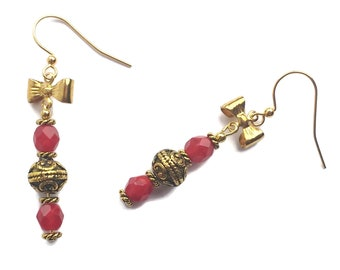 Handmade Jester Red Bow Tie Gold Plated Earrings, Cherry Red, Hypoallergenic Nickle Free Beaded Drops, Festive Christmas Jewelry, Prom, Gift