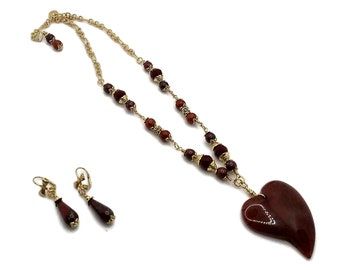 Garnet Red Dragons Vein Agate Heart Necklace with Nickle Free Gold Plated Earrings, Valentine's Day, Sweetheart Jewelry, Wedding Jewelry