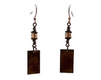 Dijon Yellow Earrings, Rectangle Earrings, Copper Earrings, Petite Earrings, Small Earrings, Tiny Earrings, Watercolor Look, Boho Style