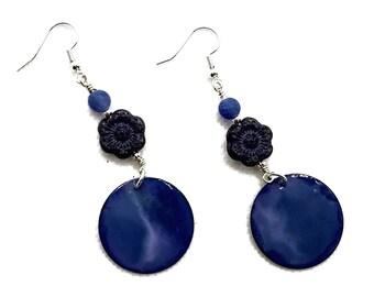 Denim Blue Earrings, Wild Rose Earrings, Nickel Free Earrings, Silver Plated, Cornflower Blue, Carolina Blue, Boho Style Earrings, Blue Jean