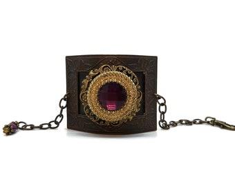 Amethyst Purple Brass Cuff Bracelet, Unique One of a Kind, Statement Piece, Bridal Jewelry, Prom Bracelet, Victorian Style, Dark Purple