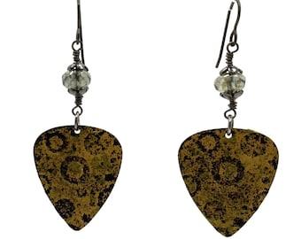 Yellow Earrings, Black Earrings, Guitar Pick Earrings, Nickel Free Earrings, Circle Motif, Lightweight Earrings, Rocker Earrings, Gift for