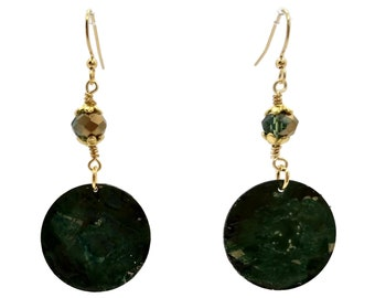 Hunter Green, Nickle Free Earrings, Gold Plated Earrings, Boho Style Earrings, Sparkly Earrings, Forest Green, Round Earrings, Pine Green