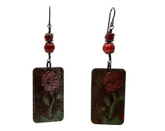 Red Flower Earrings, Brass Earrings, Rectangle Earrings, Nickel Free Earrings, Shoulder Dusters, Long Earrings, Unique One of a Kind, Floral