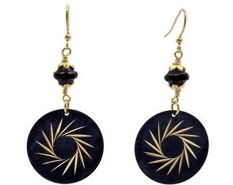 Navy Blue Earrings, Round Earrings, Nickle Free Earrings, Midnight Blue Earrings, Spruce Blue Earrings, Gold Plated Earrings, Denim Blue
