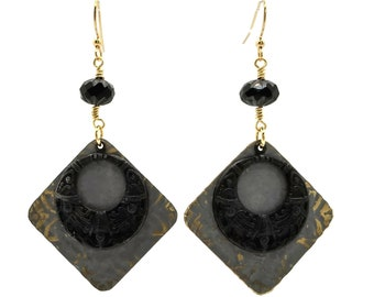 Grey Gray Earrings, Black Earrings, Nickel Free Earrings, Lightweight Earrings, Statement Earrings, Long Earrings, Rhombus Shaped, Gift For