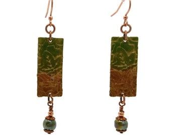 Olive Green & Brown Rectangle Leaf Motif Copper Nickle Free Earrings, Falling Leaves, Long Earrings, Moss Green, Gingerbread Brown, Sepia
