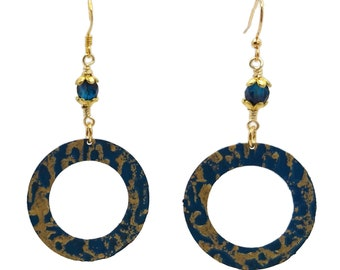 Turquoise Blue & Gold, Gold Plated Round Hoop Earrings, Nickel Free, Sophisticated Boho Style, Cyan Teal Aqua, Unique One of a Kind Gift For