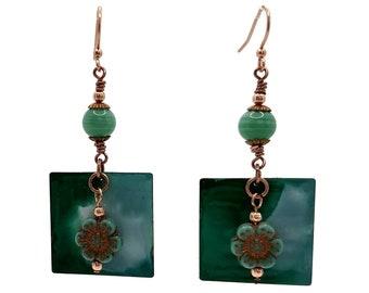 Teal Green Earrings, Copper Earrings, Flower Earrings, Watercolor Effect, Nickel Free Earrings, Long Earrings, Square Earrings, Gift for Mom