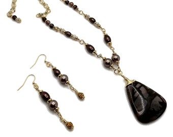 Brown Jasper Pendant Necklace with Nickel Free Earrings, Gold Plated Necklace, Gemstone Jewelry Set, Brown Gemstone Necklace, Brown and Tan