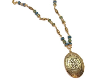 Aqua Blue & Sea Green Scroll Work Oval Gold Plated Pendant Locket Necklace, Picture Photo Frame, Handmade Unique One of a Kind, Gift Mother