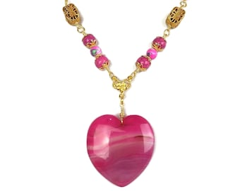 Magenta Pink Agate Heart Gold Plated Pendant Necklace, Valentine's Day Gift, Handmade Jewelry, Deep Rose Fuchsia, Heirloom One of a Kind