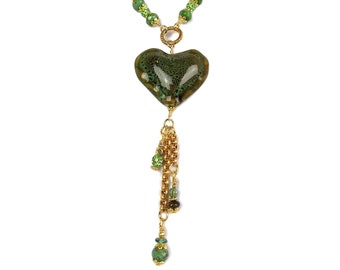 Sage Green & Brown Ceramic Heart Pendant Necklace, Tiger's Eye, Gold Plated Brass Valentine's Day Gift Handmade Jewelry Rhinestone Sparkling