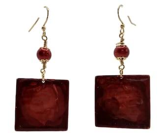 Ruby Red Earrings, Square Earrings, Gold Plated Earrings, Watercolor Effect, Nickel Free Earrings, Lightweight Earrings, Blood Red Earrings