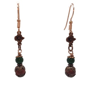 Oak leaf earrings from copper with peridot Fall forest Outdoor jewelry Autumn inspired
