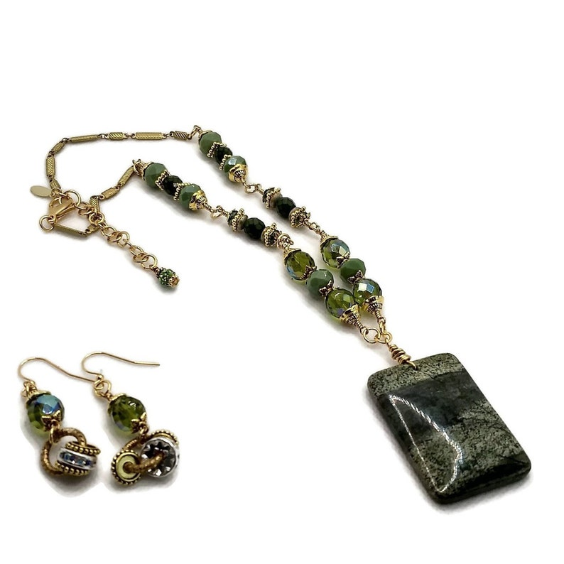 Grass Green Rectangle Gemstone Necklace & Earrings Set Gold image 0