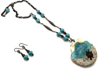 Aqua Blue Seashell Turtle Walk on Beach Vignette Necklace with Nickel Free Earrings, Brass Necklace, Brass Earrings, Tropical Jewelry, Sea