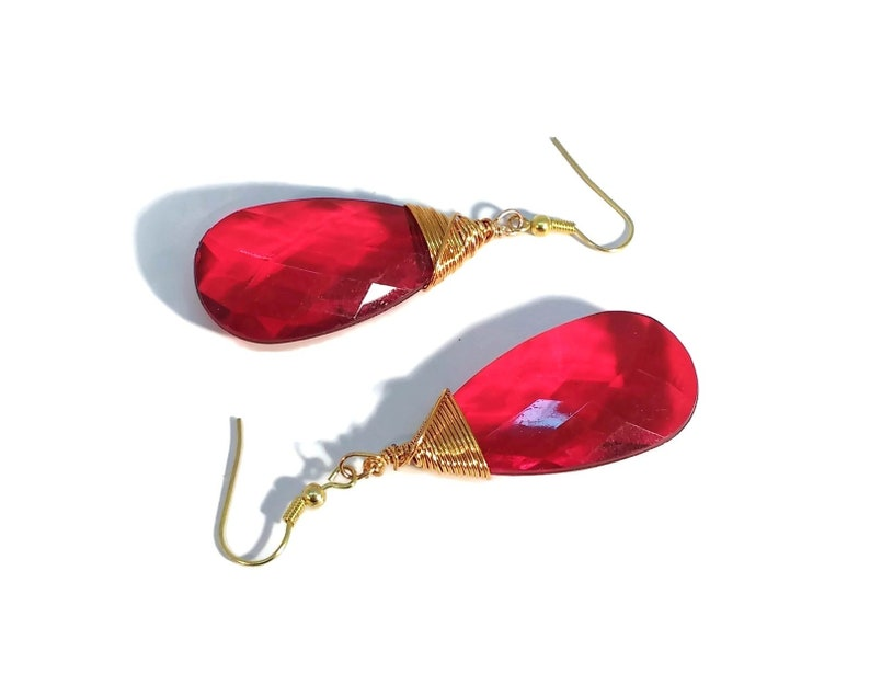 Red Earrings Gold Earrings Faceted Ruby Red Crystal Drops image 0