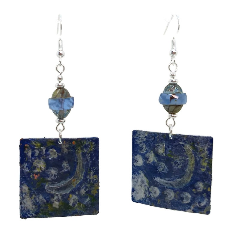 Night Sky Quarter Moon & Stars Painted Square Earrings Nickel image 0