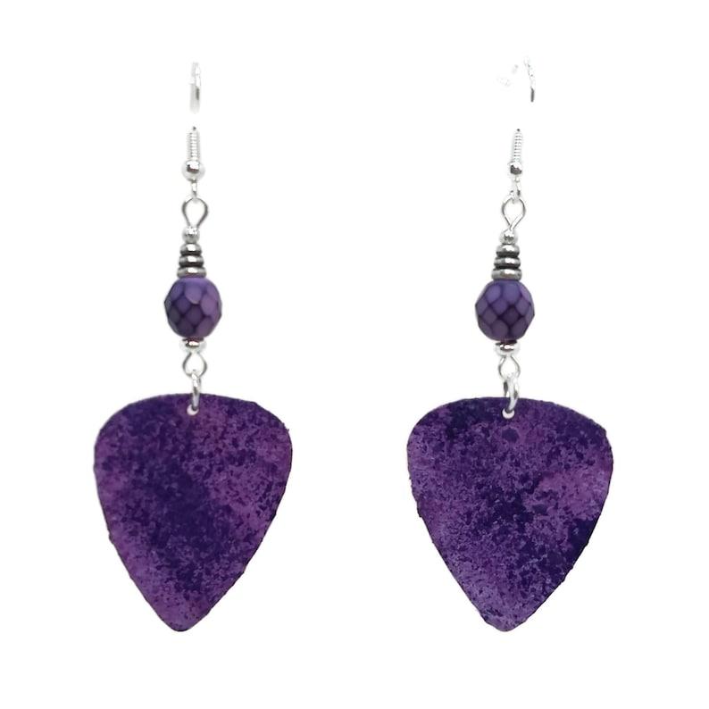 Violet Purple Guitar Pick Earrings Nickel Free Silver Plated image 0