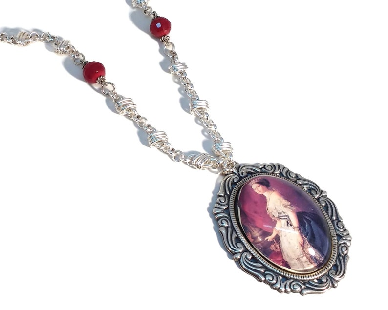 Garnet Red Cameo Necklace Burgundy Red Silver Plated image 0