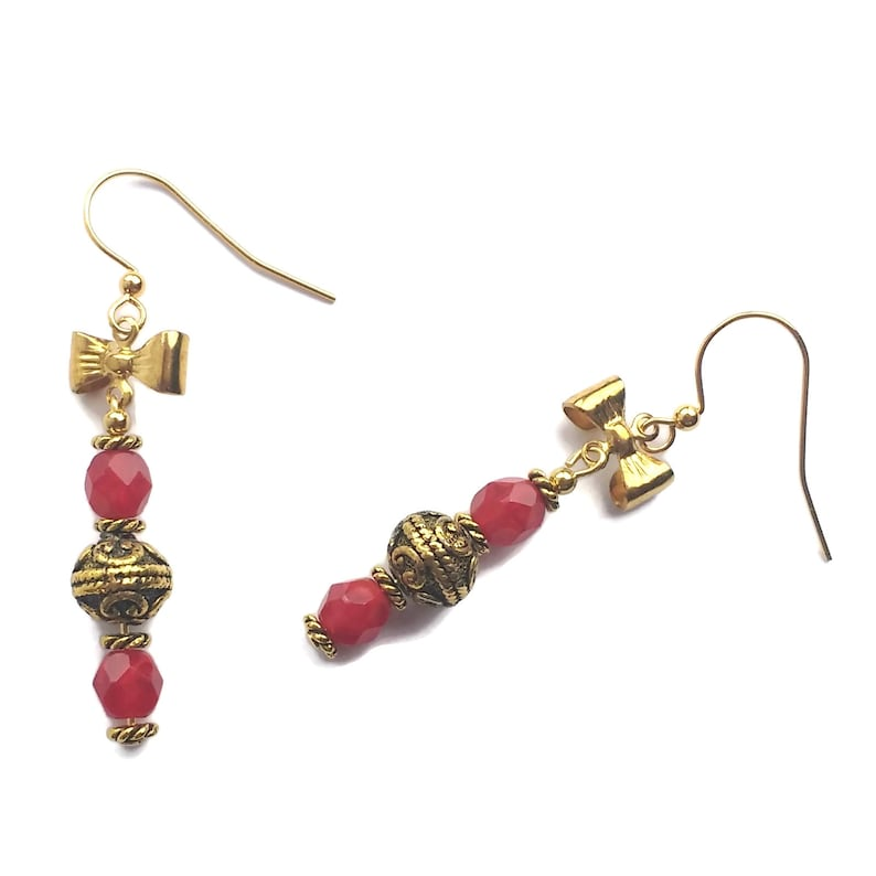 Handmade Jester Red Bow Tie Gold Plated Earrings Cherry Red image 0
