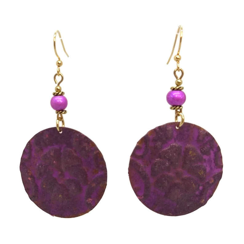 Lilac Purple Painted Round Flower Earrings Nickel Free Gold image 0