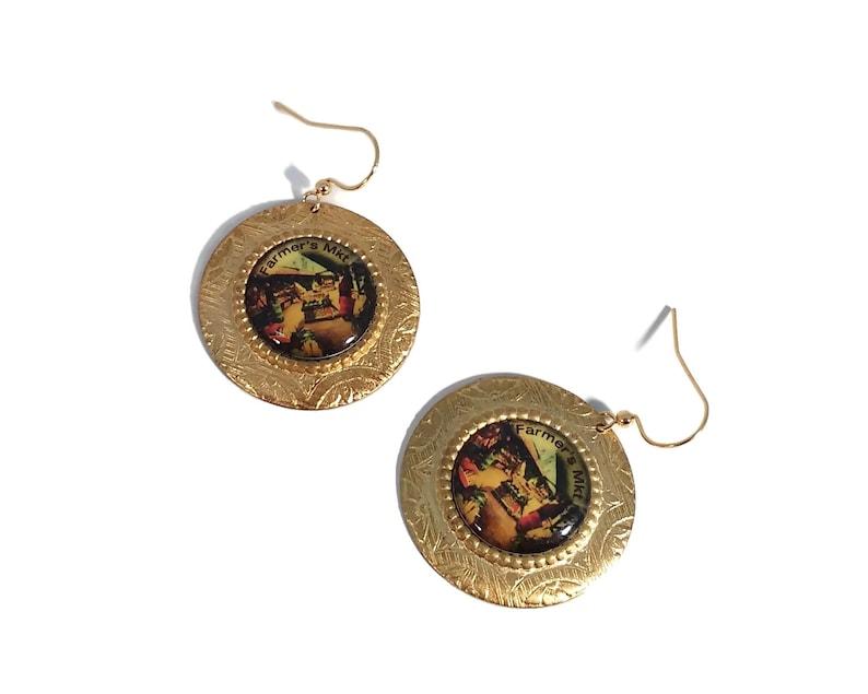 Farmer's Market Earrings Novelty Earrings Gold Jewelry image 0