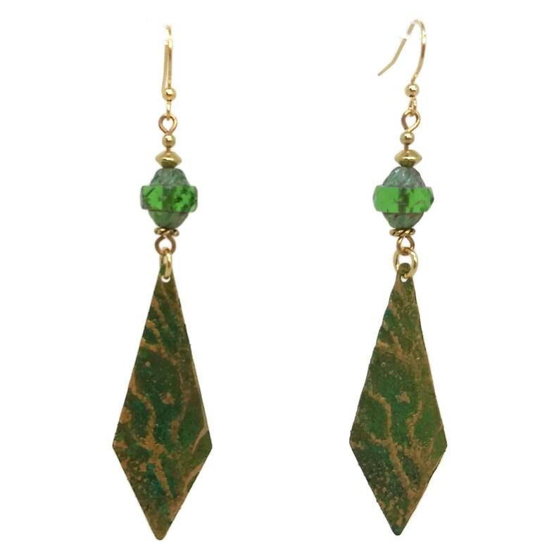 Forest Green Kite Shaped Brass Earrings Gold Plated Nickel image 0