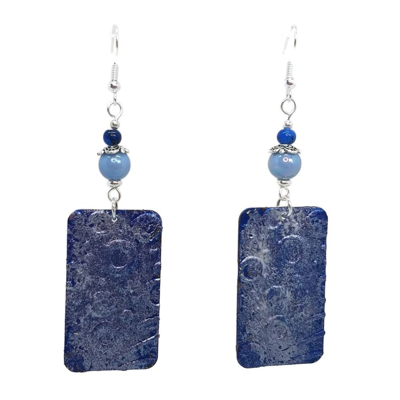 Royal Blue Rectangle Circles Earrings Silver Plated Nickel image 0