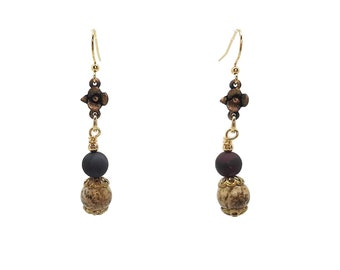 Picture Jasper & Agate Flower Dangle Earrings, Gold Plated Brass, Nickel Free, Beaded Gemstone Jewelry B'sue by 1928 Floral Beige Dark Brown