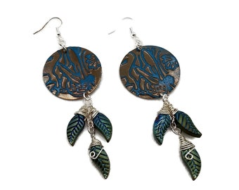 Teal Blue Dragonfly & Leaves Round Brass Nickel Free Silver Plated Earrings, Turquoise Cyan Electric, Flying Insect Bug, Shoulder Dusters