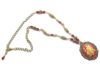 Handmade Jester Red Beaded Fairy Cameo Necklace, Cherry Red Brass Ox Pendant Gold Plated Beads Garden Fairies Unique One of a kind Ren Faire