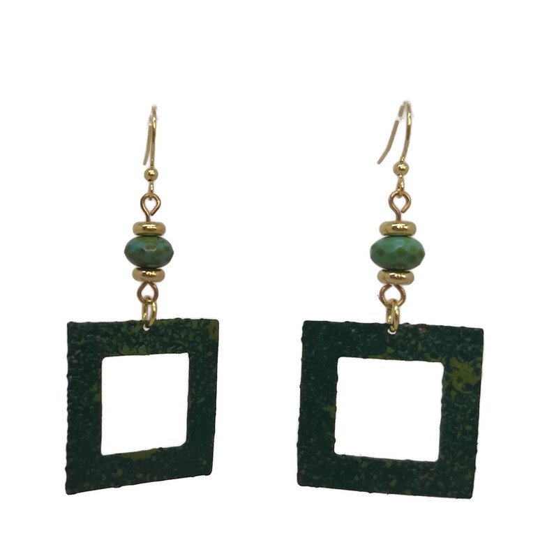 Square Forest & Olive Green Brass Hoop Earrings Unique One of image 0