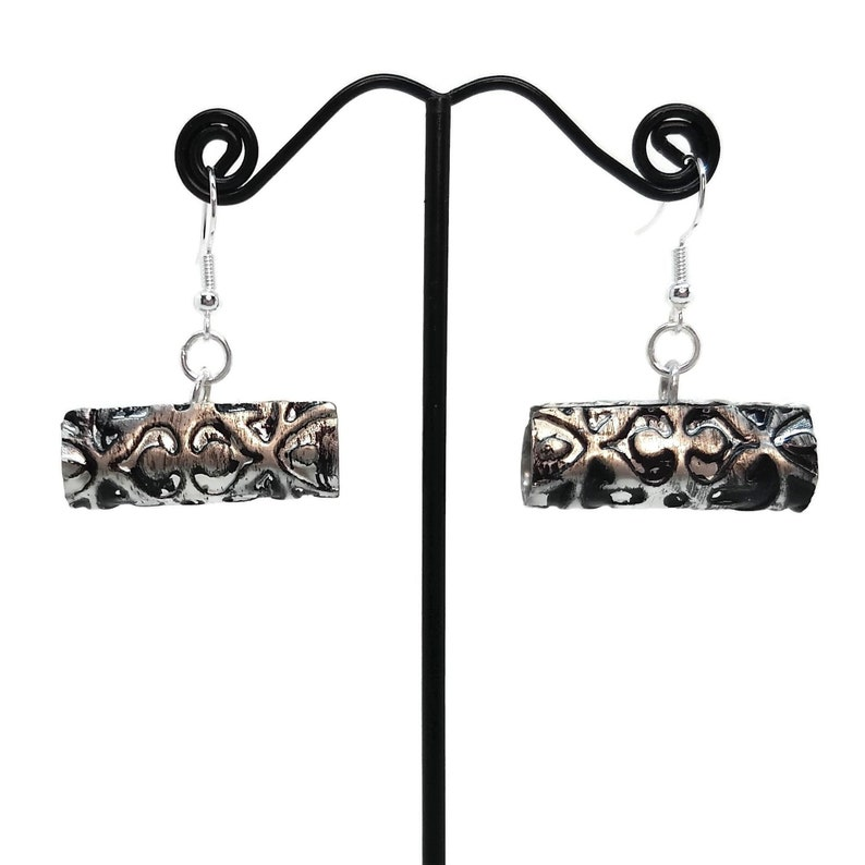Handmade Pewter Rolled Tube Earrings Unique One of a Kind image 0