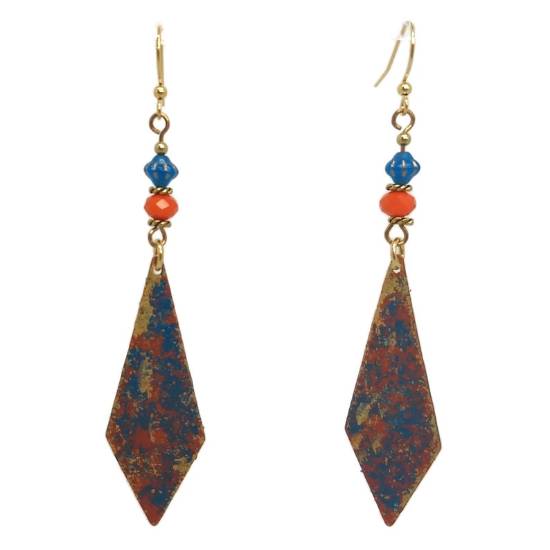 Aqua Teal Blue & Orange Kite Shaped Beads Handmade Jewelry image 0