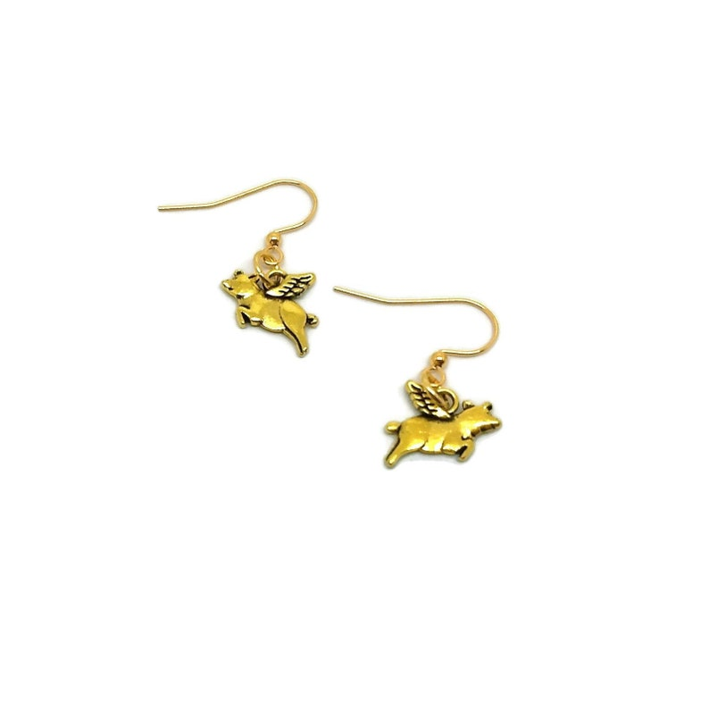 Gold Plated Nickel Free When Pigs Fly Dangle Earrings Unique image 0