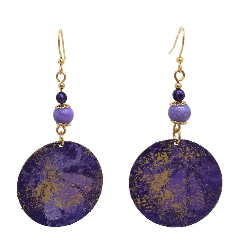 Violet Purple Painted Round Earrings Nickel Free Gold Plated image 0