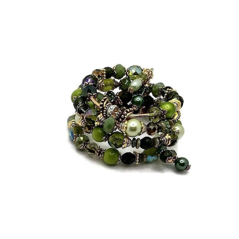 Green Memory Wire Bracelet Wrap Bracelet Stacked Bracelet image 0