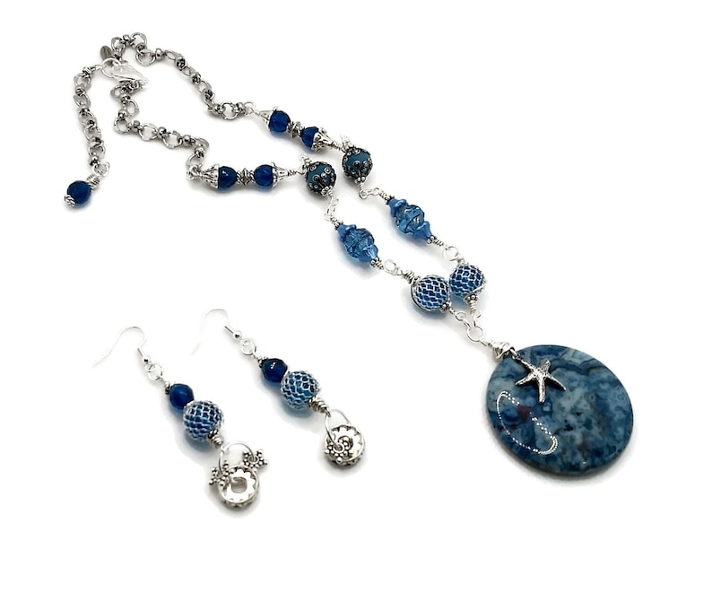 Aqua Blue Gemstone Necklace with Nickel Free Earrings Silver image 0