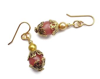 Handmade Rose Quartz Gold Plated Brass Beaded Drop Earrings, Hypoallergenic, Prom Jewelry, Beige Cream Glass Pearls, Pale Pink Earrings Gift