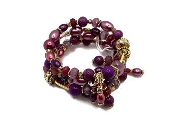Burgundy Purple, Maroon Pink Gold Plated Memory Wire Bracelet, Wrap Bracelet, Stacked Bracelet, One Size Fits All, Layered Bracelet, Sparkly
