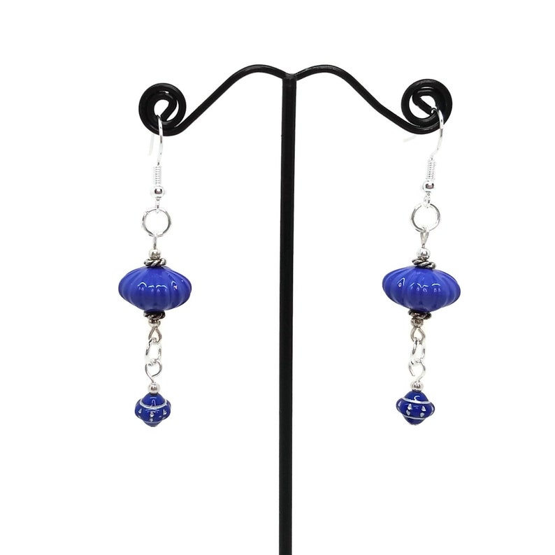 Medium Blue Silver Plated Saucer Shaped Dangle Earrings image 0