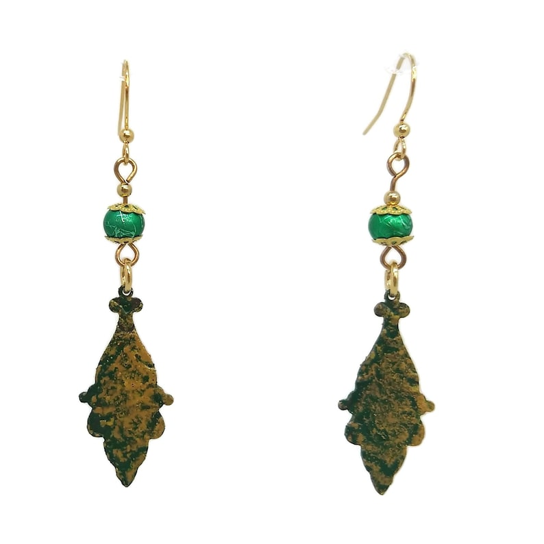 Eden Green Drop Earrings Gold Plated Nickel Free Ear Wires image 0