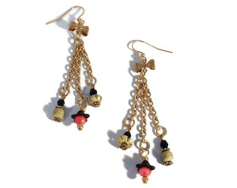 Handmade Bowtie Red & Black Gold Plated Shoulder Dusters Earrings, Unique One of a Kind Nickle Free Hypoallergenic Long Festive Prom Jewelry