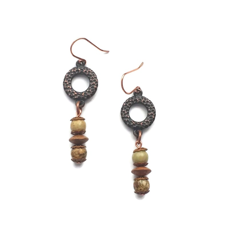 Handmade Jasper Rusted Iron Pewter and Copper Earrings image 0