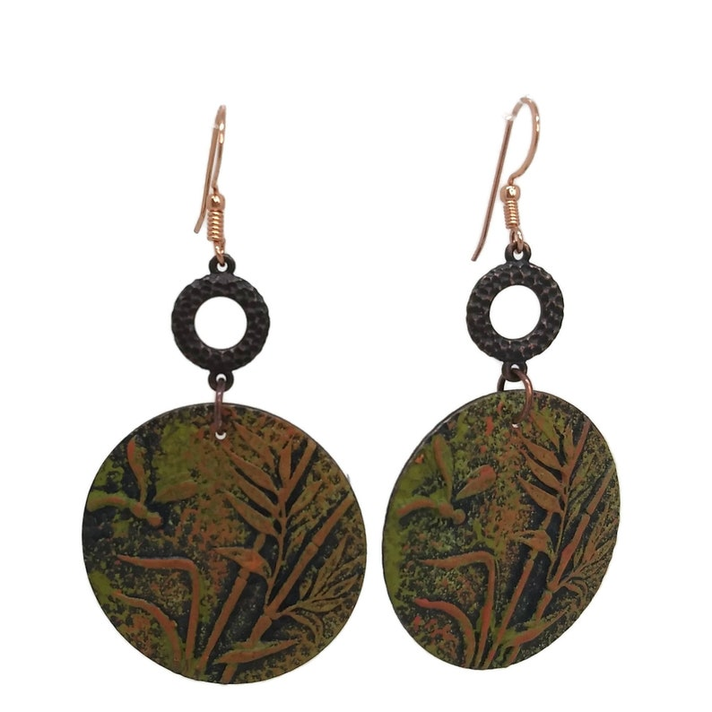 Olive Green & Burnt Orange Dragonfly among the Reeds Earrings image 0