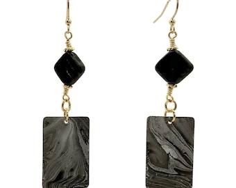 Jet Black Earrings, Grey Gray Earrings, Rectangle Earrings, Gold Plated Earrings, Nickel Free Earrings, Long Earrings, Swirl Earrings, Gift
